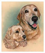 Dog Pet Portrait of Jake and Jackson